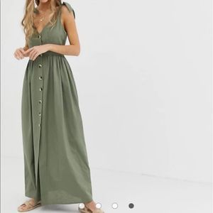 ASOS DESIGN button through smock maxi dress
